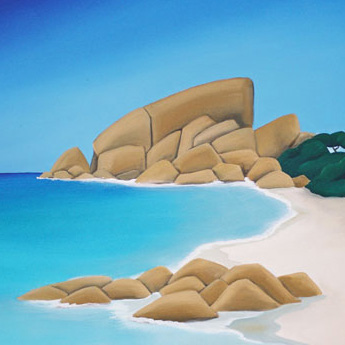 a stylized image of a beach typical of the dunsborough area in western australia