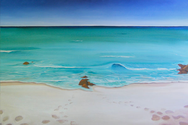 This painting by Mandy depicts a simple beach with aqua blue water and a few burnt orange granite rocks