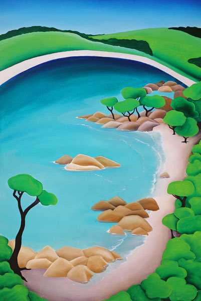A styalised image of Bunker Bay from the lookout painted by Mandy Evans