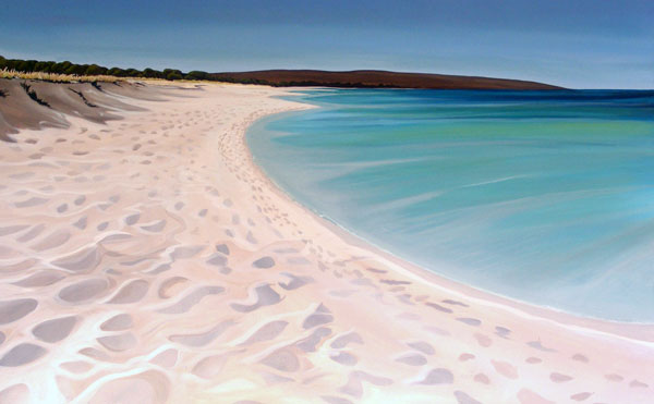 A painting of Dunsborough Wa showing the headland of Cape Naturaliste in the background.