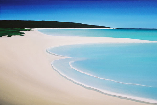 A styalised image of the beach in Dunsborough Western Australia where Mandy comes from.