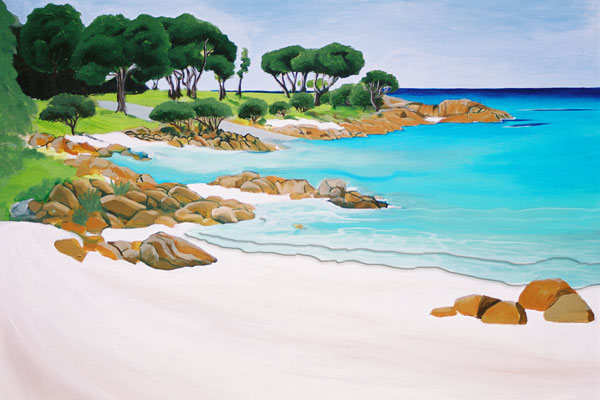 Depicting A painting of the Boat Ramp in old Dunsborough painted by west australian artist Mandy Evans