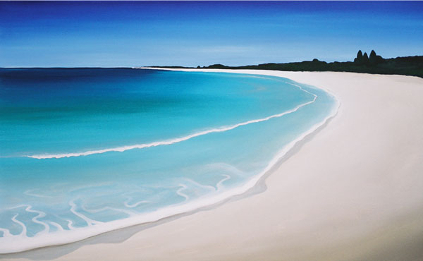 A bright colourful painting of the beach at Quindalup near Dunsborough