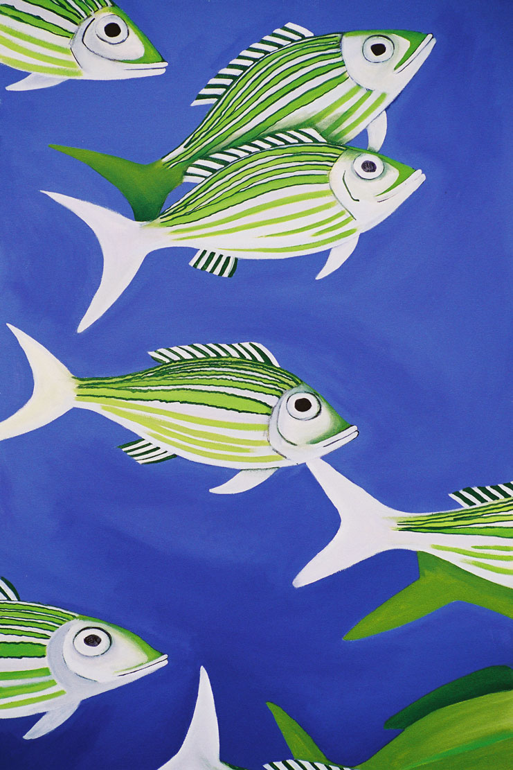 A painting of brightly green striped fish on a vivid purple blue background
