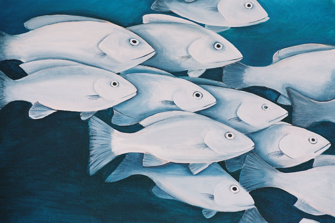 A painting of a school of silver fish swimming accross the page, called moses perch