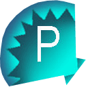 an image of a simplified aqua blue shell with the letter p for pinterest
