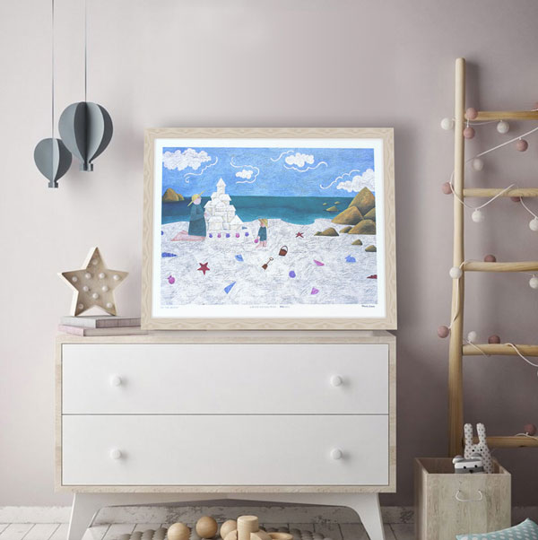 an example of a framed limited edition print in a beach themed room