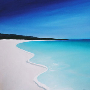 Always as I have painted dreamlike and transformational art - i have also focused on the local beaches and landscapes - you can still see the pervading simplistic style in this aqua blue and light sand beach painting
