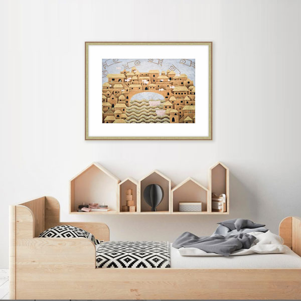 The framed print by Mandy in a childs bedroom themed with building shapes