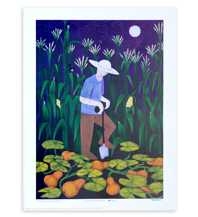 The limited edition print -Digging in the Garden - is a man in the moonlight , highlighting deep colours <br /><br />
