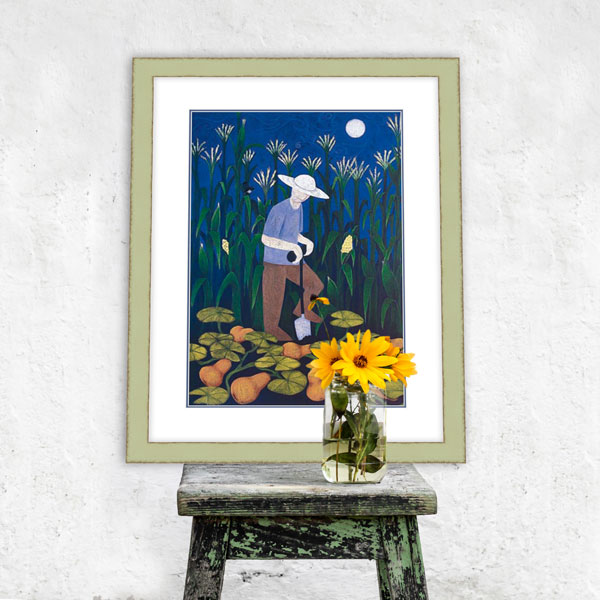 the gardening print on a rustic old wooden stool - styled with some yellow flowers