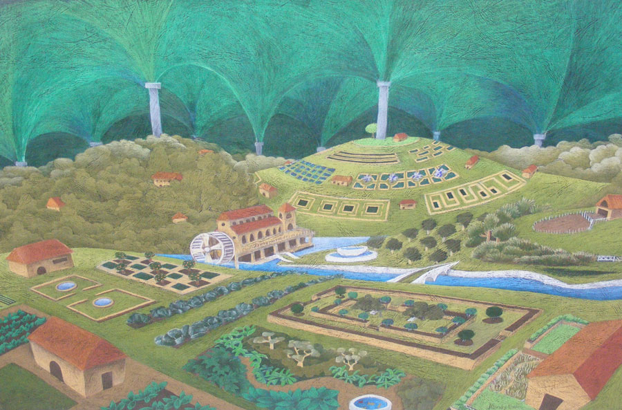 a coloured pencil drawing of a permaculture society under a dome