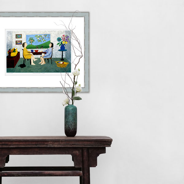 a picture of the limited edition print of drinking coffee in a minimalistic home setting
