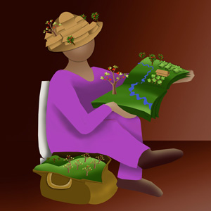 Some brightly coloured artwork by Mandy depicting a woman reading from a book with trees growing out of it