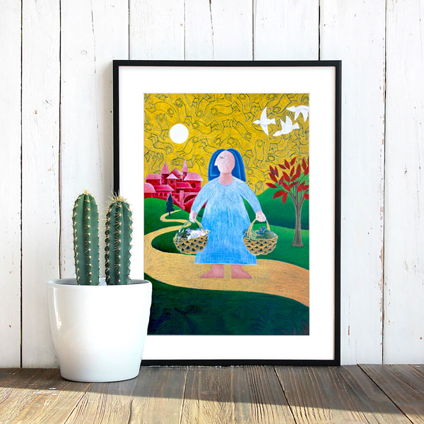 this is going shopping styled in a santa fe mexican austere minimalist look. The framed print sits next to a cactus, against a weathered white washed wall