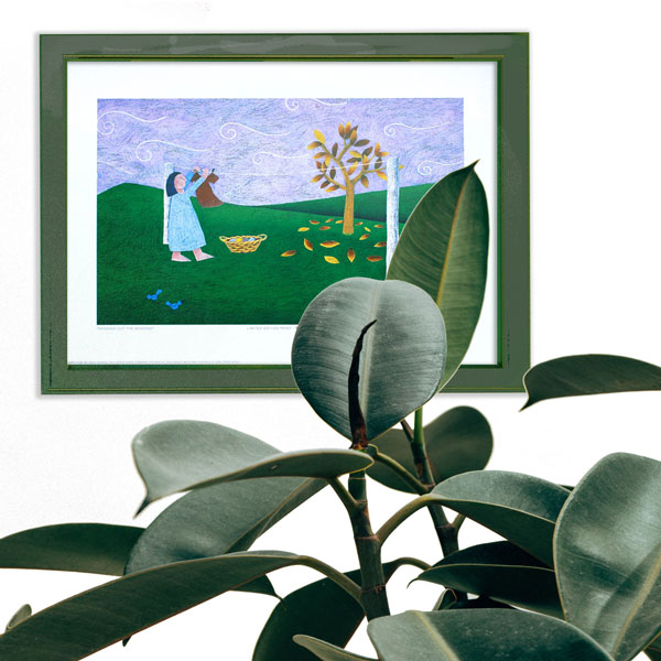 an insitu image of the limited edition print placed with a house plant