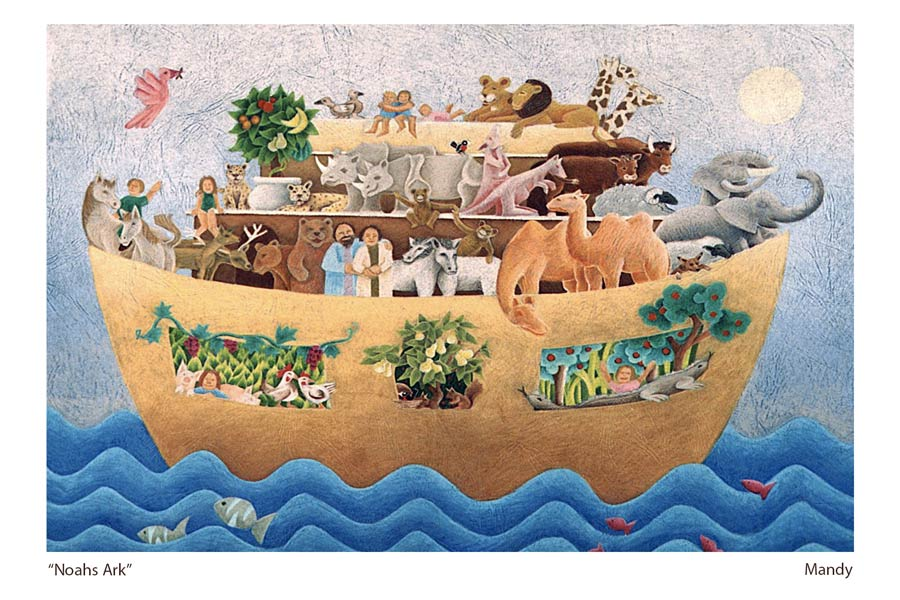 a lyrical coloured pencil drawing by western australian artist mandy evans depicting happy animals and people in Noahs Ark.