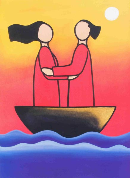 A depiction of a relationship -two people standing in a boat