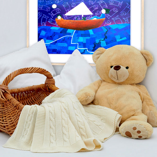 The print in a more softer looking childrens bedroom with a big plush teddy bear matching the brown on the frame