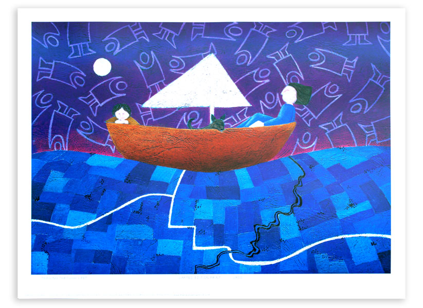 Boats are another reoccurring theme in my art -<br /><br /> they represent a containment like a family - and they are always moving - like time