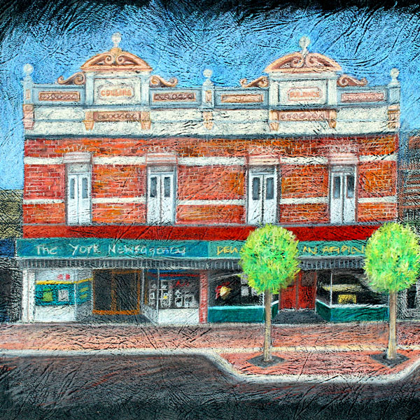a coloured pencil drawing by Mandyevansartist of the historical building in York called The Collins Buildings