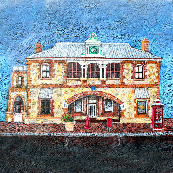 a coloured pencil drawing of thte York Post Office - a historical building in York Western Australia