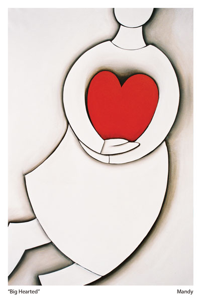 a one of the love heart images by artist Mandy Evans called Big Hearted depicting a spirit holding a heart