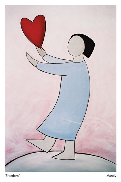 A Heart Image by Mandy Evans Artist depicting a styalised person on a hill releasing an icon of a love heart into the wind. The message being -I send you my love.