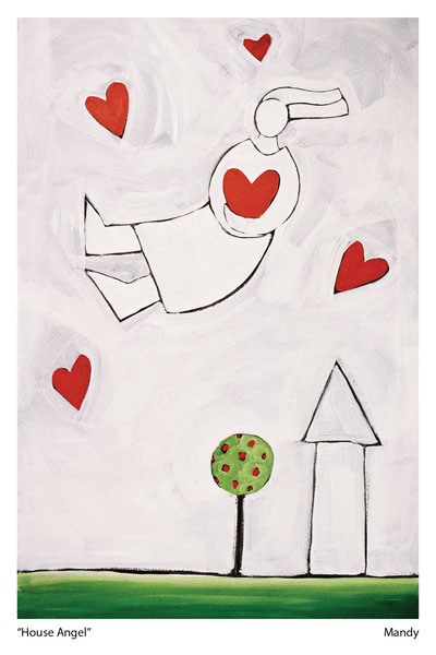 One of a series of Love Heart Pictures by Artist Mandy Evans called House Angel showing an angel in the sky rai