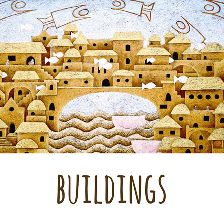 beautiful storytale buildings drawn in colored pencils on a leathercraft paper by Mandy Evans