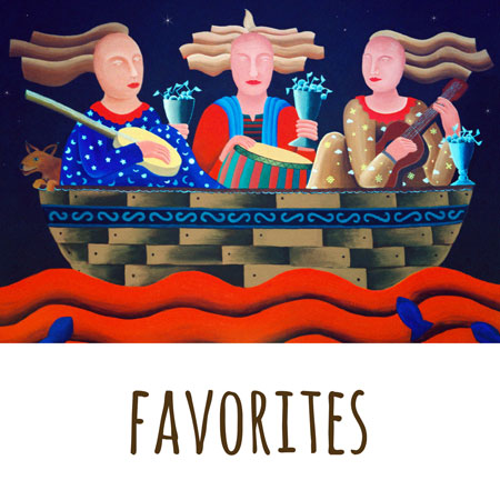 one of Mandys paintings called -three women in a boat- which was a singing group that mandy was in with two friends