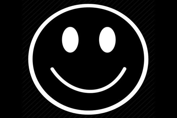 a black and white smiley face - to signify happiness