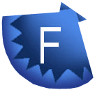 a blue fan shell with an F for Facebook