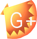 A bright orange icon of a fan shell with a G+ to represent Google +