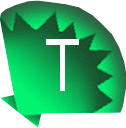 a green fan shell with a T for twitter
